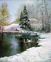 Oleg Kulagin Winter pond. Rural Landscape