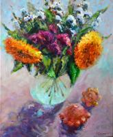 Anna Sidorova Sunflowers and squash Still Life