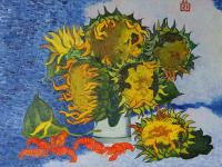 Moesey Li Sunflowers and crayfish Still Life