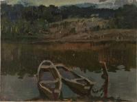 Vasily Belikov Boats on the evening river Landscape
