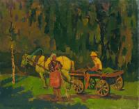 Vasily Belikov Haymaking time Rural Landscape
